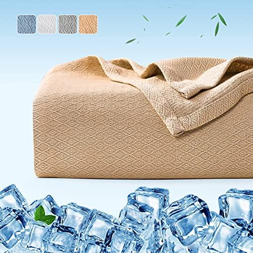Manta Bambú Verano Fresco 200*220cm, Luxear ARC-Chill® Mantacon Fibra de Enfriamiento Japonesa Q-MAX>0.3, Transpirable Suave, Anti Estático, Alivia Sudor y Ayuda Sueño para Cama, Sofá-Beige