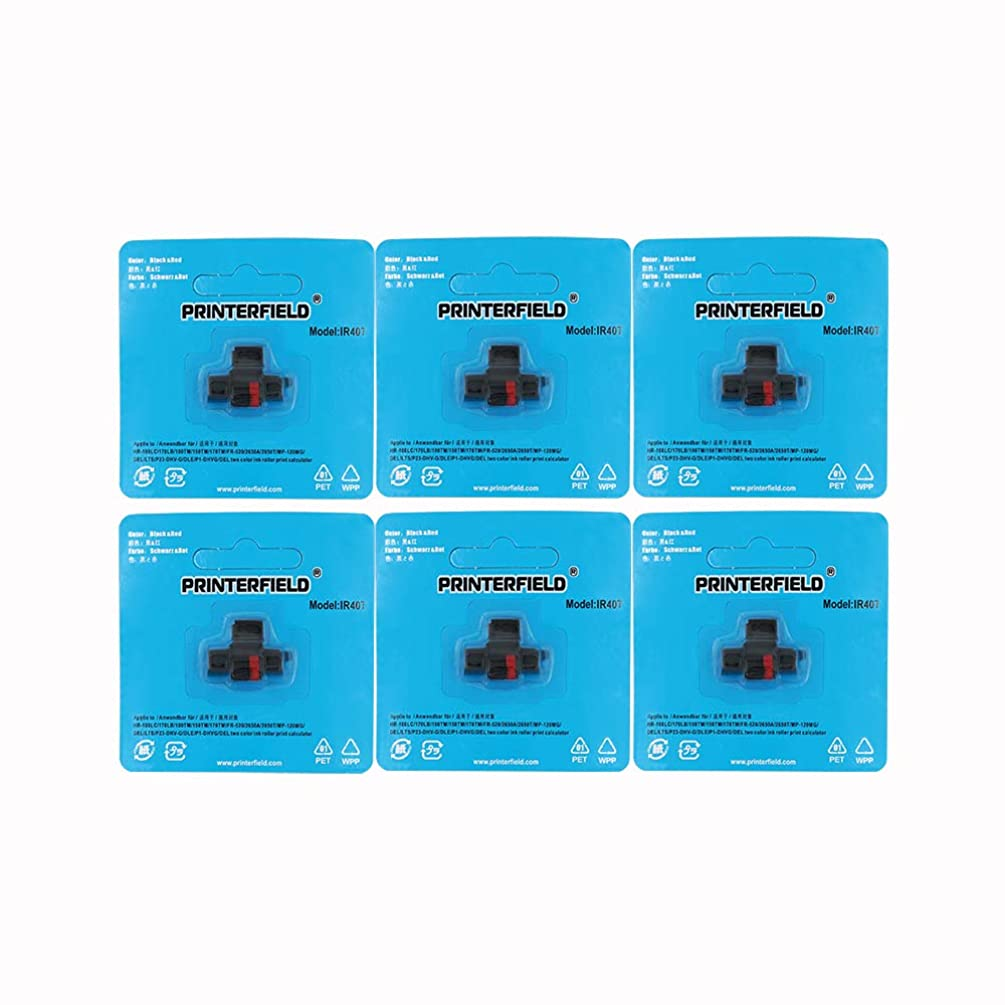 Printerfield IR-40T (6 Pack) Compatible Calculator Printer Ribbons Ink Roller Black/Red