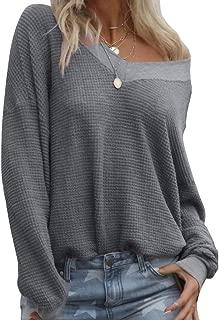 Annystore Womens Oblique Button Neck Patchwork Fleece Sherpa Pullover Sweater Sweatshirt Tops