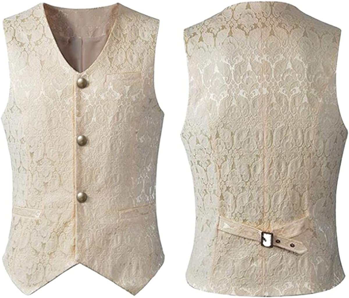 Men's Jacquard Single-Breasted Vest Tuxedo Gothic Steampunk 2021 model Clearance SALE! Limited time!