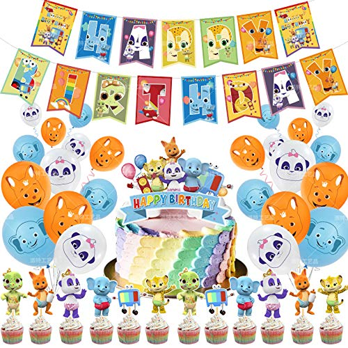Party Zubehör Set Kinder - YUESEN Word Party Geburtstag Dekoration Party Happy Birthday Banner Animation Balloons Deko Cake Topper Decorations for Kids Boys Girls Birthday Party (50pcs)