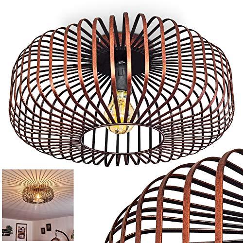 Deckenleuchte Wemude, Deckenlampe aus Metall in Schwarz/Kupfer, 1-flammig, 1 x E27-Fassung max. 60 Watt, moderner Leuchte im Retro/Vintage Design m. Gitter u. Lichteffekt an der Decke, LED geeignet