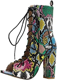 Lataw Women`s Ankle Bootie Ladies Boots Fashion Lace Up Multicolor Snake Skin Printed High Heel Sandals Combat Style Shoes