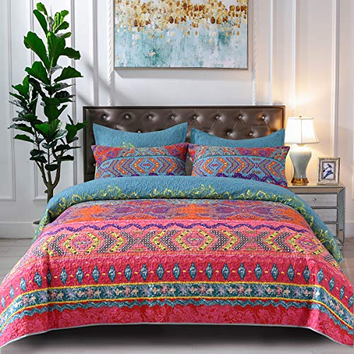 """Mefinia Boho Lightweight Quilt Set 90""""x96"""",Quilted Bedspreads Coverlet, Bohemian Exotic Comforter Bedding Cover"""