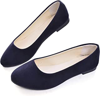 Dear Time Women Flat Shoes Comfortable Slip on Pointed Toe Ballet Flats Blue Size: 7.5