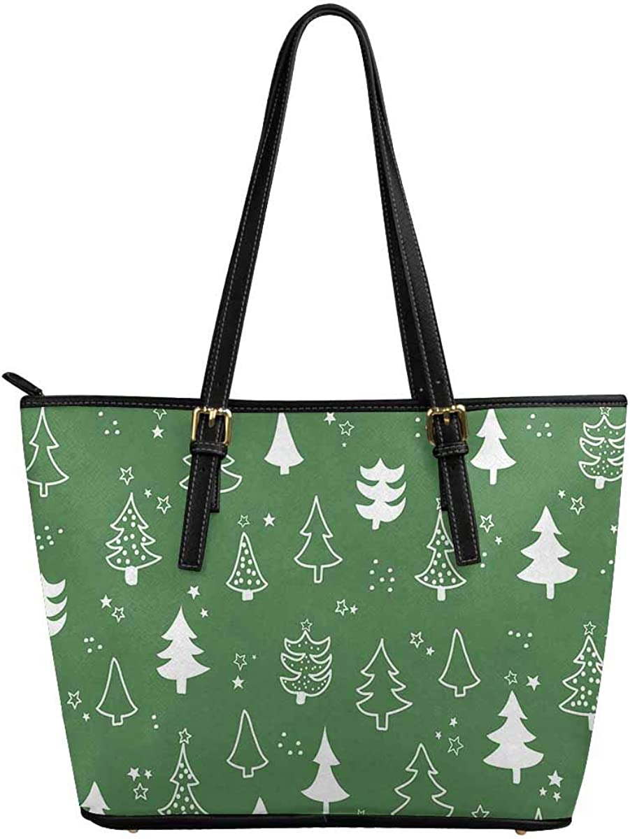 INTERESTPRINT Pattern with Christmas Tree Women Totes Top Handle HandBags PU Leather Purse