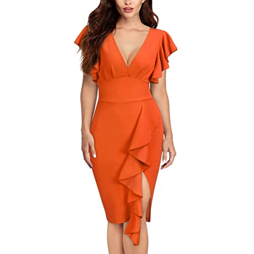 4939ae2254 Knitee Women's Deep-V Neck Ruffle Sleeves Cocktail Party Pencil Dress