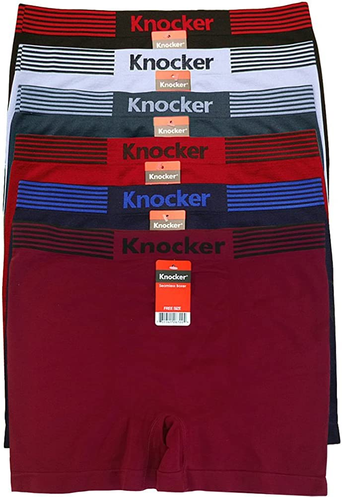 Knocker Men's 6-Pack Seamless Boxer Brief Athletic Compression Workout Underwear OS Waistband Stripes
