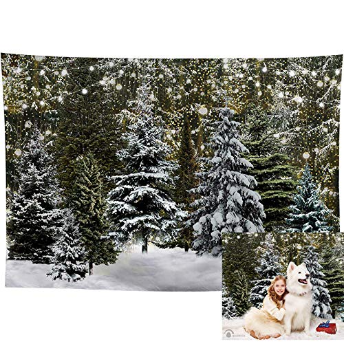 Allenjoy 7X5ft Durable Fabric Christmas Winter Snowfield Photography Backdrop Xmas Trees Pine Forest Glitter Wonderland Nature Photo Background Baby Kids Family Festival Party Photo Studio Banner