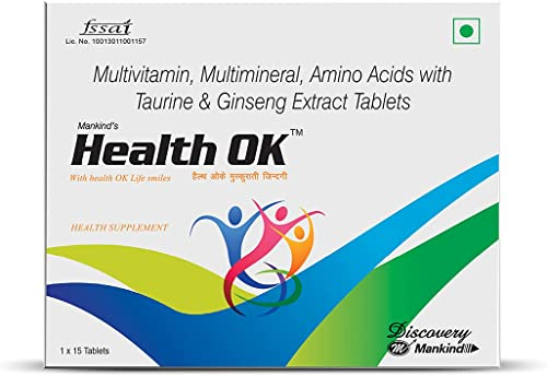 Health Ok Multi Vitamin and Mineral Health Supplement for Energy and Overall Health with added Immunity Tablets Pack of 2