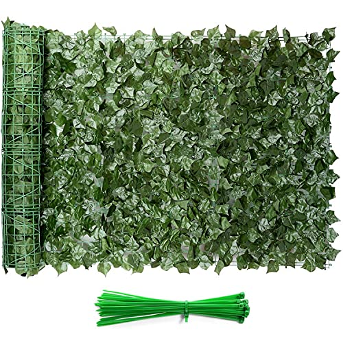 """Eden's Decor Artificial Ivy Privacy Fence Screen 120""""X40"""", Faux Ivy Privacy Wall Artificial Hedges Fence and Vine Forest Green Leaves Decoration for Outdoor Decor, Garden, Patio"""