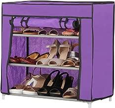 Harisons Homes Foldable Shoe Rack with 3 Shelves (Purple)