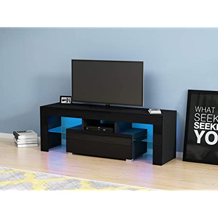 Anaelle Pandamoto LED Meuble TV en Verre sur Salle de Séjour, Salon et Chambre à Coucher etc, Taile: 130*35*45cm, Poids: 28kg, Noir