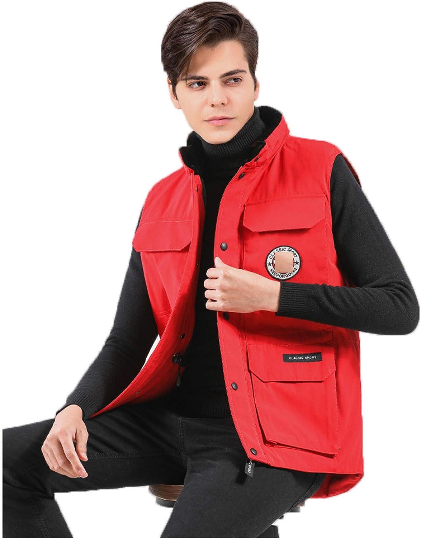 Snhpk Men's Down Vest Outerwear Gilets Coat Softshell Jacket, Winter Thicken Warm Windproof Overcoat Waistcoat,Red,XXL