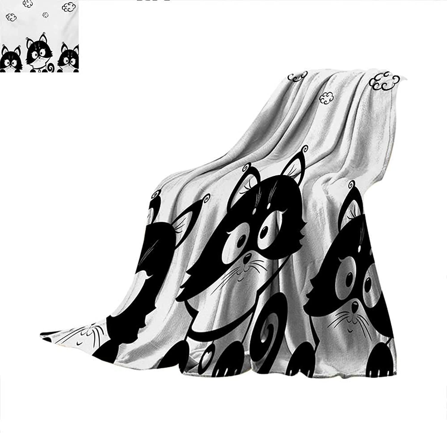 Black and White Weave Pattern Blanket Cute Three Kittens with Clouds Over Their Heads Small Thoughts Art Summer Quilt Comforter 60 x50  Black and White