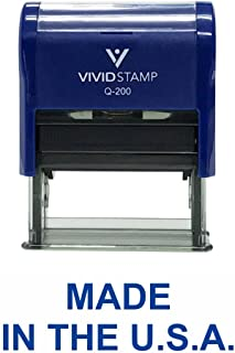 MADE IN THE U.S.A. Self Inking Rubber Stamp (Blue Ink) - Medium