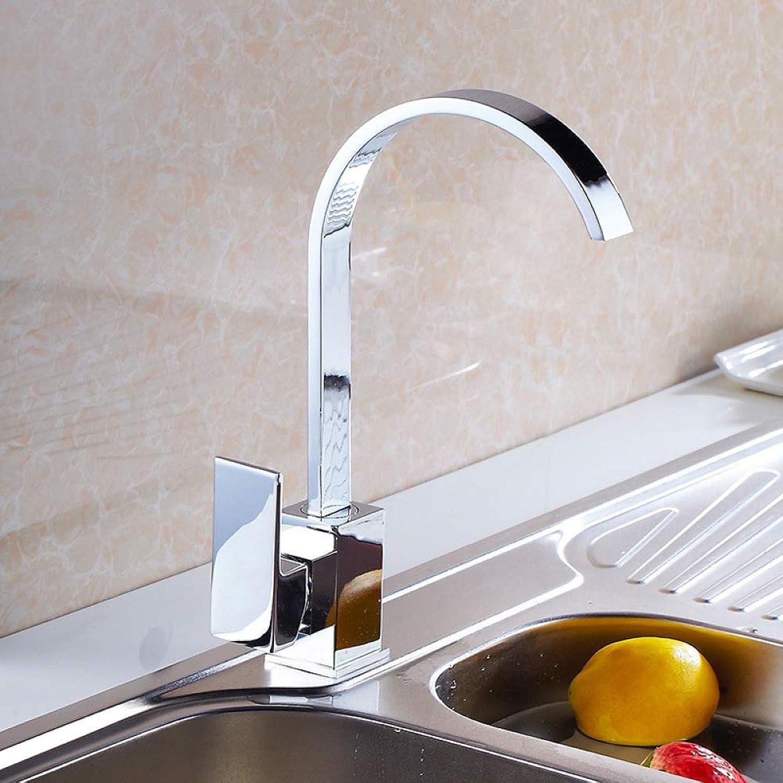 ZHAOSHOP Wasserhahn Küchenarmatur Spüle Waschbecken über der Theke Becken heies und kaltes Wasser Wasserhahn Quadrat Flachrohr kann gedreht werden 8004