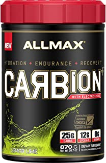 ALLMAX Nutrition CARBion+ with Electrolytes + Hydration, Gluten-Free + Vegan Certified, Lemon Lime, 30 Servings , 870 Grams