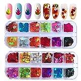 24 Cajas/set Lentejuelas de uñas con llama de hoja de arce, Kalolary Holográfica Nail Lentejuelas Acrílico,para uñas, cabello, decoración de arte corporal Adecuado para navidad