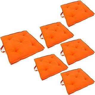 Edenjardi Pack 6 Cojines para sillas de jardín Color Naranja, Tamaño 42x42x5 cm, Repelente al Agua