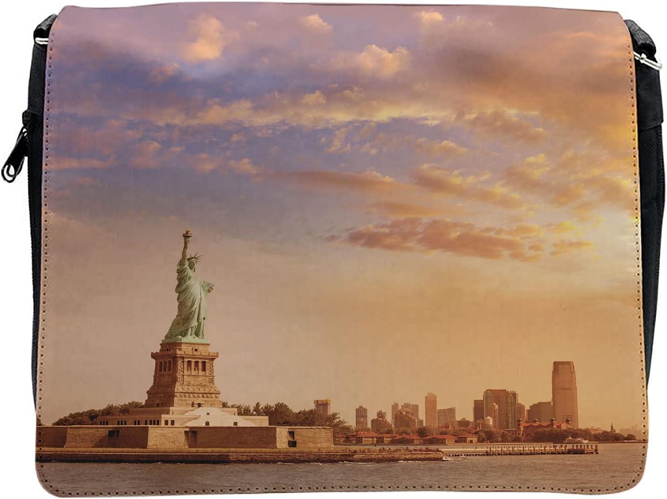 Ambesonne New York Cross Body Messenger Bag, Freedom on NYC, Unisex