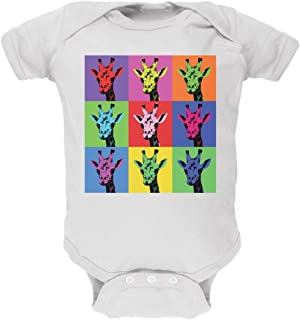 Giraffes Pop Art Repeating Squares White Soft Baby One Piece