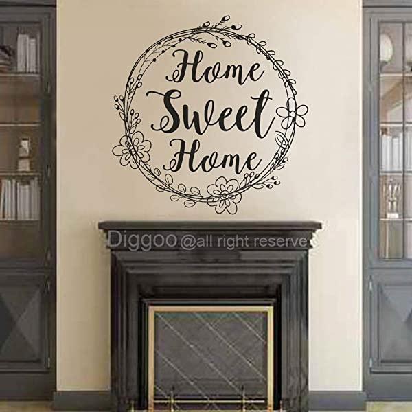 Diggoo Home Sweet Home Decal Family Wall Decal Quote Foyer Decor Home Wall Art Rustic Cottage Decal Farmhouse Decor Black 14 H X 14 W