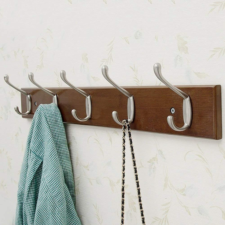 Shiyanghang Bedroom Wall Clothes Hook Vintage color Entrance Door Behind The Wall Coat Rack Solid Wood Hanger Coat Hook Hook (Size   C)