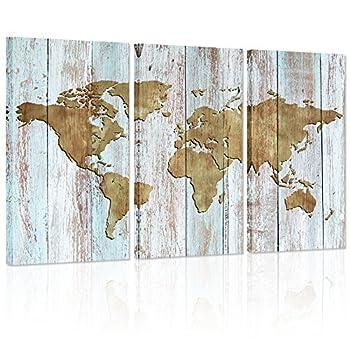 Visual Art Decor Retro Wood Background Vintage World Map Canvas Prints Home Wall Decoration World Map Wall Art Decor  Antique