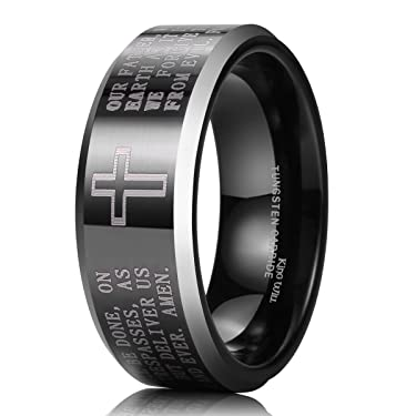 King Will Classic 8mm Black Tungsten Carbide The Lord's Prayer Polished Finish Wedding Band Ring