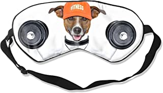 Kwhy Weightlifting Dog Sleep Mask for Women Blackout Kids Sleep Mask Pack Printed Sleep Eye Masks Blackout Adjustable Head Strap Night Blindfold for Women Men Night Sleeping, Travel, Nap