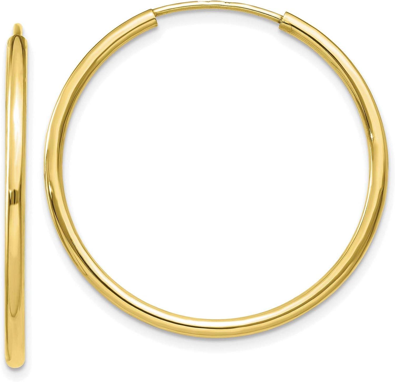 Women 10k Yellow Gold 1.2 mm Polished Tube Endless Hoop Earrings 30x30