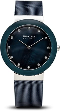 BERING Time 11435-387 Womens Ceramic Collection Watch with Mesh Band and Scratch Resistant Sapphire