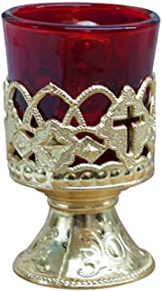 "Electric Votive Stand 4"" Gold Plated Metal with Ruby Glass-boxed"