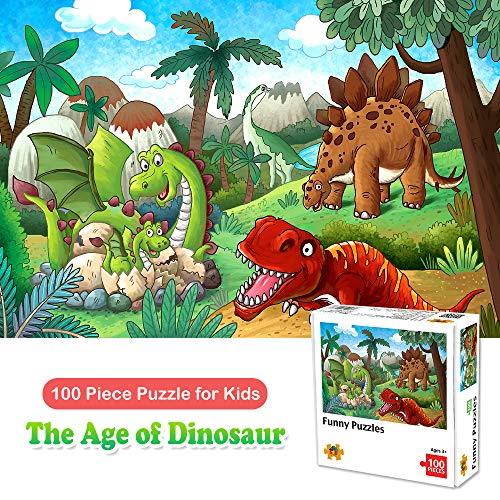 100 Piece Jigsaw Puzzles for Kids Ages 4-8 The Age of Dinosaur, Puzzles for Toddler Children Learning Educational Puzzles Toys for Boys and Girls