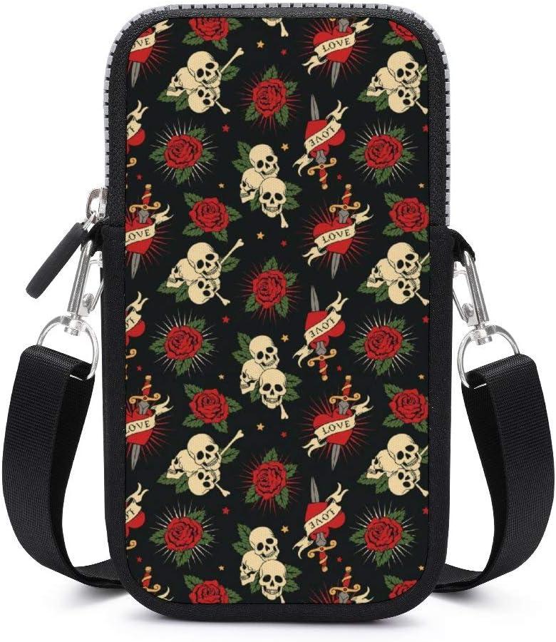 NiYoung Women Girls Small Crossbody Cell Phone Purse, Red Rose Sugar Skulls Flowers Floral, Lightweight Fashion Messenger Shoulder Bag Handbag Wallet Purse for Travel Work Shopping