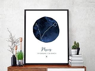 PISCES Art Print Horoscope Pisces Sign Pisces Zodiac Art Pisces Symbol Pisces Dates Pisces Constellation Print Astrology Art Print Pisces