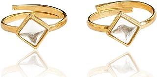 Touchstone Ethnic Golden Kundan Toe Ring For Women