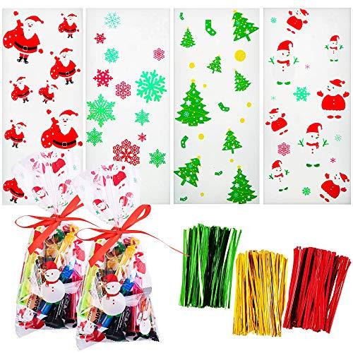 Gudotra 200pz Babbo Natale Sacchetti Trasparenti Caramelle Natale Bustine Regalo Plastica Sacchettini Natalizi Compleanno Bambini