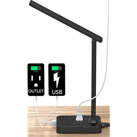 Touch Dimmer Control,1h Timer 3 Level Brightness 3 Color Model Drevet LED Desk Table Lamp with 2 USB Charging Port and 2 AC Power Outlet Memory Function,Eye-Caring Office Foldable Lamp,Night Light