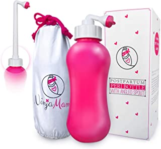 Peri Bottle for Soothing Postpartum Care. Perineal & Hemmoroid Treatment. Post Partum 15oz Portable Bidet with Angled Spout - for Pain After Childbirth - Labor & Delivery Hospital Bag. Shower Gift.