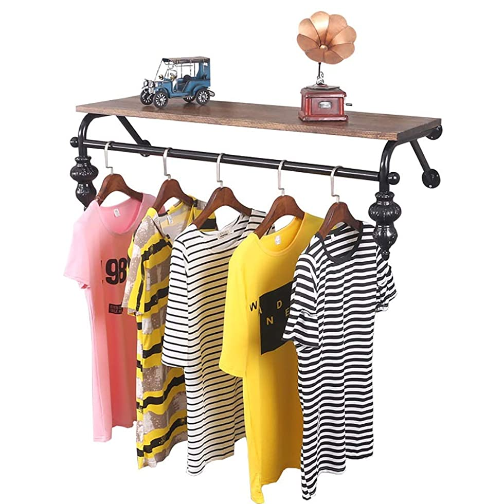 熟したテメリティ簡略化する衣服の棒、壁に取り付けられた衣類の陳列だな、Storage-60 / 80/100 / 120cmのための衣服の棚の掛かる棒が付いているヴィンテージ浮遊棚 (Size : 80*28*30cm)