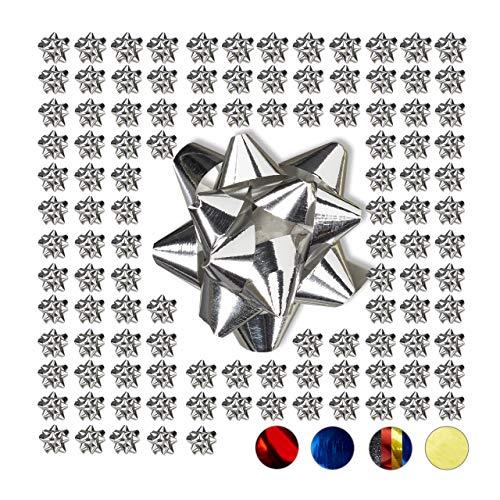 Relaxdays Geschenkschleifen 100er Set, Selbstklebend, Kleine Dekoschleifen für Weihnachten & Geburtstag, Ø 5 cm, Silber