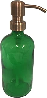 Industrial Rewind Green Glass Soap Dispenser with Copper Metal Pump - Green 16oz Glass Bottle Lotion Bottle