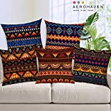 AEROHAVEN™ Set of 5 Decorative Hand Made Jute Throw/Pillow Cushion Covers - (Multi, 16 x 16 Inches)