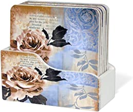 BANBERRY DESIGNS Drink Coasters with Holder - Set of 6 - Assorted Vintage Floral Design- Unique Gifts for Her Birthday Thank You Housewarming