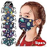 12shage Lot De 5 𝐌𝐀𝐒𝐐𝐔𝐄 De Mode à Imprimé Spatial Pour Enfants,Protection Extérieure Réglable En Tissu Lavable Et Réutilisable Avec Poche Pour Fil-Tre