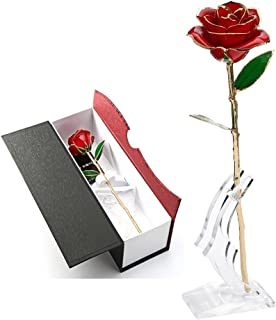 K_LUCKYI 24K Gold Rose with Gift Box is Unique Gift for Valentine's Day Mother's Day Christmas's Day Lover's Birthday with Stand (RED)