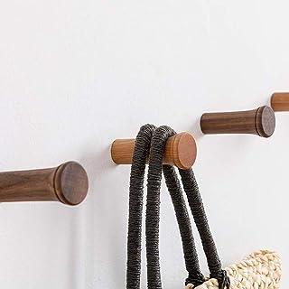 HomeDo木製フック ねじフック おしゃれ ウォールフック 壁掛けフック 洋服掛け ウォールハンガー 帽子掛け 帽子収納 装飾壁掛けフック タオルハンガー 5個セット(チェリーウッド, 6cm)