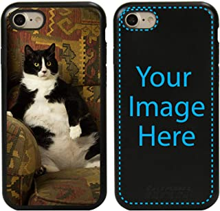 Custom Cat Cases for iPhone 7/8 by Guard Dog - Personalized - Put Your Kitty on a Rugged Hybrid Phone Case. Includes Guard Glass Screen Protector. (Black, Black)